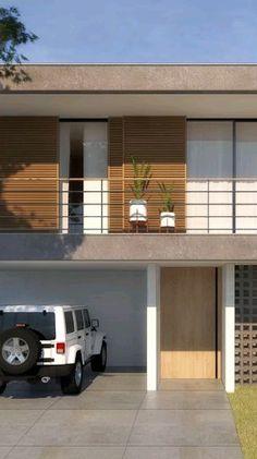 Bungalow House Design, House Front Design, Garage Design, 3d House Plans, Open House Plans, Modern Architecture House, Architecture Design, Modern Houses, Double Storey House Plans