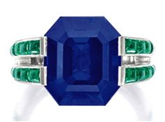 This sapphire and emerald ring by Cartier was briefly the most expensive sapphire in the world, before a second sapphire at the same Sotheby's auction broke the record.
