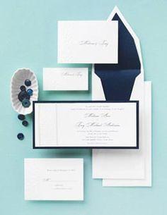 Navy Blue & White Wedding Invitations