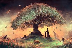 French Artist Creates Surreal Fantasy Universes Inspired By Hayao Miyazaki And Tim Burton Art And Illustration, Illustrations And Posters, Illustration Wallpaper, Fantasy Anime, Fantasy Kunst, Hayao Miyazaki, Tree Wallpaper Art, Hd Wallpaper, Artistic Wallpaper