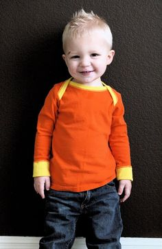 Tutorial for simple lap-neck shirts (start to finish in 90 minutes, according to the blogger).  A great baby/toddler basic.