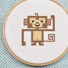 Items similar to Monkey Embroidery Hoop Art, Completed Cross Stitch Art, Childrens Decor on Etsy Cross Stitch For Kids, Cross Stitch Animals, Embroidery Hoop Art, Cross Stitch Embroidery, Embroidery Ideas, Filet Crochet, Freebies, Perler Patterns, Counted Cross Stitch Patterns