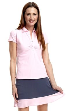 Golftini Pull On Tech Golf Skort in Slate Grey with Light Pink ruffle trim | #Golf4Her #Spring