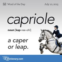 Today's Word of the Day is capriole. Learn its definition, pronunciation, etymology and more. Join over 19 million fans who boost their vocabulary every day.