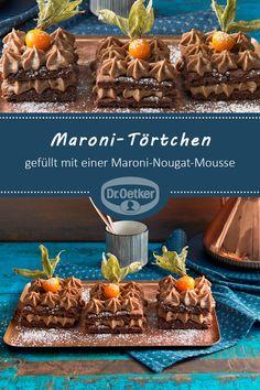 Maroni-Törtchen: Quadratische Törtchen, gefüllt mit einer Maroni-Nougat-Mousse #nougat #kaffeetafel Cupcakes, Macaroons, Mousse, Brownies, Healthy Living, Deserts, Food And Drink, Sweets, Table Decorations