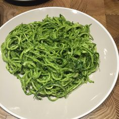 Spaghetti crougette with pesto ( spinach,walnut,Parmesan and olive oil )