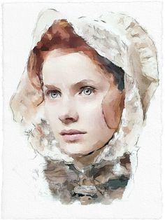 Digital watercolor of Rachel Hurd-Wood by Vitaly Shchukin