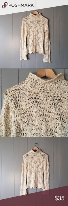 Arden B Crochet Knit Mock Neck Scallop Hem Sweater This loose Knit sweater is absolutely stunning! Super soft and cozy Wool Blend. Very sophisticated chic look. Scalloped Hem on bottom hem and sleeves. Stretchy. Simply gorgeous! Arden B Sweaters