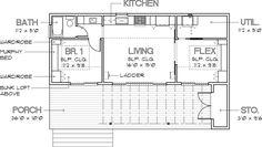 Modern Style House Plan - 1 Beds 1.00 Baths 640 Sq/Ft Plan #449-14 Floor Plan - Main Floor Plan - Houseplans.com