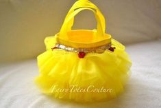 Tutu Tote - Beauty & The Beast Inspired Tutu Tote - Belle Tutu Tote - Mini Tutu Tote - Party Favors - Gift Bag Barbie Birthday, Girl Birthday, Birthday Parties, Beauty And The Beast Party, Belle Beauty And The Beast, Disney Princess Party, Princess Birthday, Candy Bags, Homemade Gifts