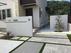 Large Pavers, Paver Designs, Gate Post, Concrete Pavers, Space Architecture, Japanese House, Small Patio, House Front, House Prices