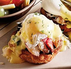 Etta's Dungeness Crab Eggs Benedict with Lemon Dill Hollandaise - Moveable Feast Recipe - FineCooking - Etta's Dungeness Crab Eggs Bennies with Lemon Dill Hollandaise recipe - Breakfast Dishes, Breakfast Time, Best Breakfast, Breakfast Recipes, Breakfast Pancakes, Crab Recipes, Egg Recipes, Brunch Recipes, Cooking Recipes