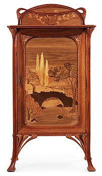 Art Nouveau mahogany cabinet with inlays and carved decoration, possibly France or Belgium, circa 1900
