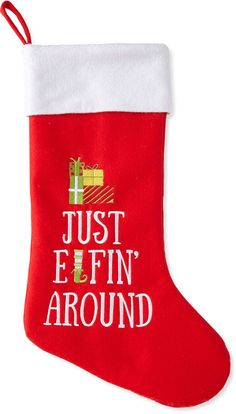 North Pole Trading Co. Just Elfin' Around Stocking