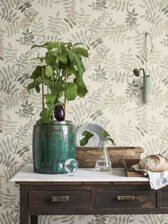 Romantic wallpaper Gelja features a soft natural colour concept perfectly suited for Shabby Chic, Vintage, Country and Romantic Look. Scandinavian Wallpaper, Scandinavian Design, Green Wallpaper, Wall Wallpaper, Wallpaper Samples, Pattern Wallpaper, Shabby, Papier Paint, Shades Of Green