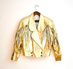 Vintage 80s Metallic Gold Leather Jacket With Fringe//  Western Metallic Leather Jacket via Etsy