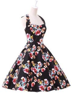 Noble Halter Floral Printed Backless High Waist Ball Gown Dress For Women
