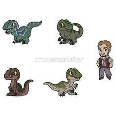 Owen's raptor squad by crowmonster Jurassic Park Tattoo, Blue Drawings, Animal Drawings, Godzilla, Jurassic World 3, Chibi, 1970s Cartoons, Indominus Rex, Disney Duck