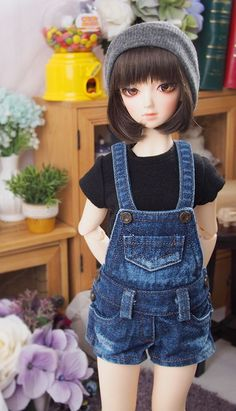1/4 bjd msd Size dungarees clothing blue jean shorts pants for ball jointed doll #Clothing