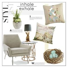 """""""Bunnies & Chicks"""" by orietta-rose ❤ liked on Polyvore featuring interior, interiors, interior design, home, home decor, interior decorating, West Elm, PBteen, Pier 1 Imports and GreenGate"""