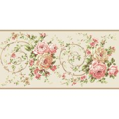10.25 in. Casabella II Rose Scroll Border, White/Pink/Pink/Orange/Red/White/Various Green Hues