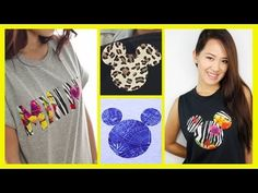 ▶ DIY A Mickey Mouse Inspired T-Shirt - An Anneorshine Disney Exclusive - YouTube. @Cindy Johnson this is what i want to do on some tanks (with cuter fabric of course, probly just black) and then we can sew on bows to make it minnie :)