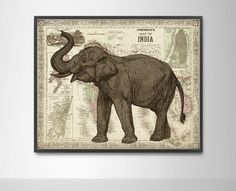 Indian Elephant Vintage Art Print - Map of India Poster - Mixed Media Indian Decor Dorm Poster - Asian Elephant Ethnic Art Reproduction