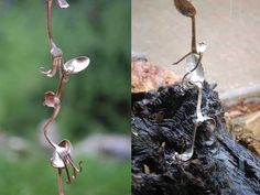 fork-spoon-rain-chain - Rain Chains are an alternate to a downspout. They guide the water and break up the flow.