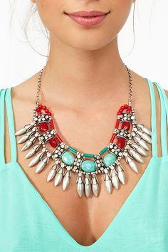 Stoned Fringe Necklace
