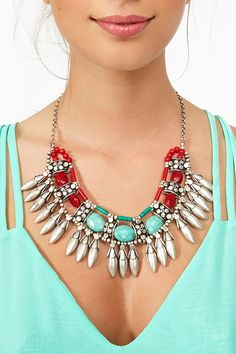 Stoned Fringe Necklace