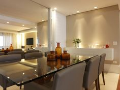 Sala de jantar | Mesa vidro | Buffet | Decoração | marcelasantiago.com.br