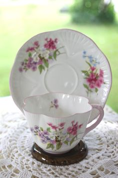 Vintage Shelley Dainty Stocks Tea Cup and by treasuresfromtheuk