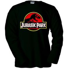 Camiseta Parque Jurasico logo clásico negra manga larga (Talla: Talla M Unisex Ancho/Largo [53cm/72cm] Aprox]) #regalo #arte #geek #camiseta