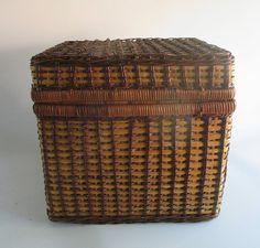 Storage Basket Vintage Woven Reed Blue Gingham Lining Craft