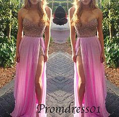 #promdress01 prom dresses - 2015 sweetheart neckline strapless long sequins chiffon side slit prom dress for teens, ball gown, occasion dress #prom2k15 #promdress -> www.promdress01.c... #coniefox #2016prom
