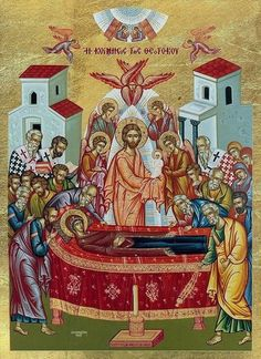 Orthodox icon of the Dormition of the Most Holy Theotokos, Panagia, Virgin Mary, the Mother of God in silkscreen. Commemorated August This Orthodox icon is made with the spec Greek Icons, Roman Church, St Clare's, Biblical Art, Byzantine Icons, 15 August, Day Book, Religious Icons, Orthodox Icons