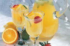Sangria Blanca:  1  orange, sliced1  lemon, sliced6 tablespoons orange liqueur2 tablespoons sugar1 cup Ocean Spray® White Cranberry Juice Drink1 cup white winesliced citrus fruits and strawberries