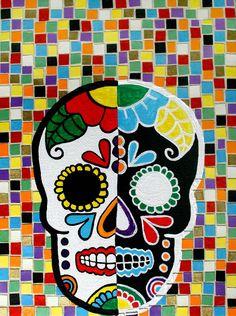 """Opposites Attract"" Mexican Folk Art Dia De Los Muertos Sugar Skull"