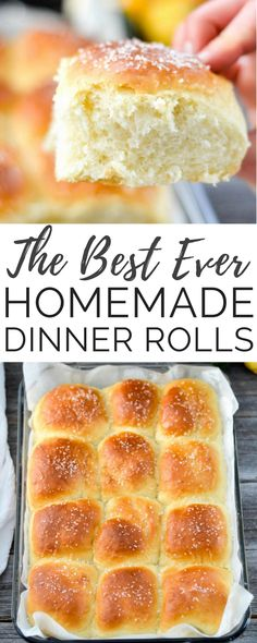 This Homemade Dinner Rolls recipe turns out perfect every time. Dense yet fluffy, slightly sweet and salty, and irresistibly buttery! The only homemade roll recipe you will ever need! #fromscratch #dinnerrolls #homemadebread #homemade #rolls #thanksgiving #christmas #bread via @joyfoodsunshine