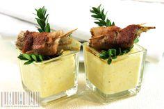 bicchierini di polenta taragna con carciofi avvolti nel bacon al profumo di mirto