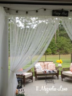I like where the string of lights is hung!  iOur New Home: Back Porch Decorated for Fall