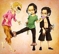 Mihawk, Doflamingo & Crocodile as Kids