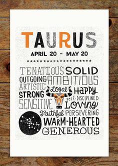 11x14 Zodiac, Orange & Black, Taurus Art Print, Modern, Geometric, Typography, Illustration