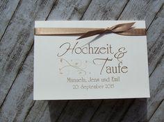 Einladung Hochzeit und Taufe KlappKarte 3fach - nougat www ...