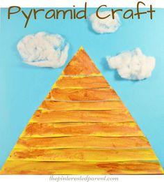 Egyptian pyramid craft for kids - preschooler arts & craft activities - Egypt,,