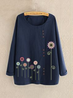 Casual Print Floral Crew Neck Long Sleeve Shirt look not only special, but also they always show ladies' glamour perfectly and bring surprise. Come to NewChic to choose the best one for yourself! Cheap Long Sleeve Shirts, Cheap Shirts, Themed Outfits, Summer Blouses, Navy And Green, Red Green, Printed Blouse, Fashion Prints, Casual Shirts