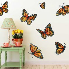 Our Butterfly Wall Decal Kit comes with 11 Large Monarch Butterflies and 2 smaller Butterflies, all Illustrated in Watercolor and Ink. All butterfly illustration Monarch Butterfly Watercolor Wall Decal Kit - Butterfly Wall Decal by Chromantics Butterfly Baby Room, Butterfly Wall Decals, Butterfly Painting, Butterfly Watercolor, Monarch Butterfly, Mural Art, Wall Murals, Sunflower Room, Garden Mural
