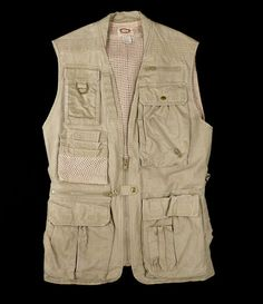 Banana Republic Safari Vest Mens M Vtg Journalist Photographer Khaki Pockets #BananaRepublic #Vest