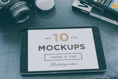 10 Cool iPad & iPhone mockups  New 10 Cool iPad and iPhone mockups. All mock-ups with Smart Object replaceable screens. Once click screenshot replacement!  !!! Original uncorrected photos is included in psd file. You might wanted to use another color correct for your specific need, so I include original unprocessed image as well.