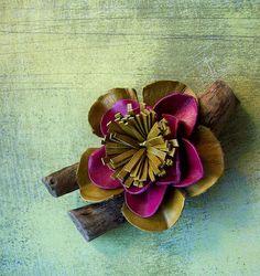 flower Brooch  Leather scrap Flower brooch